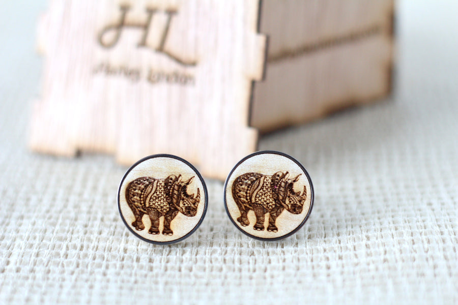 Engraved Zentangle Rhino Cufflinks - Harley London