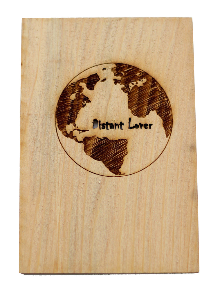 Wood Greeting Card with Planet Earth Engraved on it (distant lover cut out) by Harley London