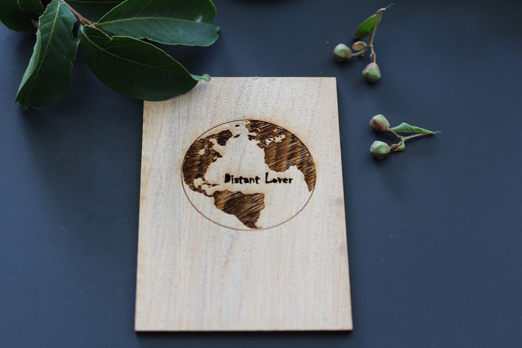 Long distant relationship card | wooden love card with world globe