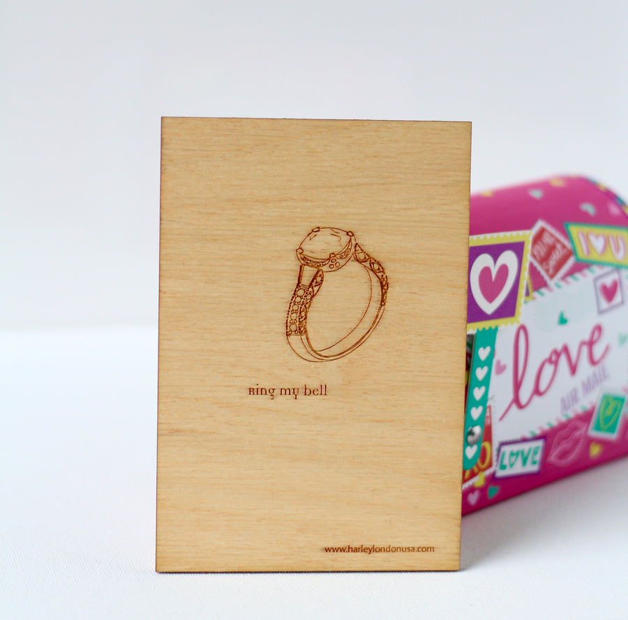 Wedding Proposal Card with hand drawn diamond ring - hand drawn laser engraved wood greeting card for couples