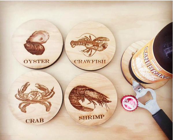 Seafood Coasters | Wooden Coasters by Harley London | Cypress Coasters made in New Orleans