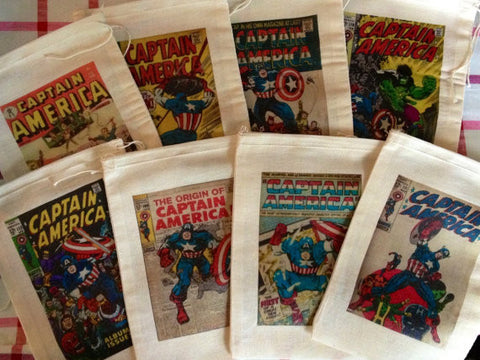 Captain America Vintage Style Favor Bags - Set of 12