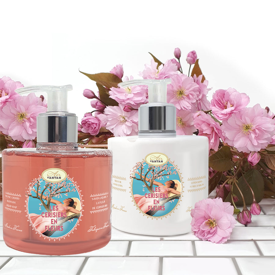 Hand Care Set: Liquid Soap 300ml + Hand Lotion 300ml Cherry Blossom