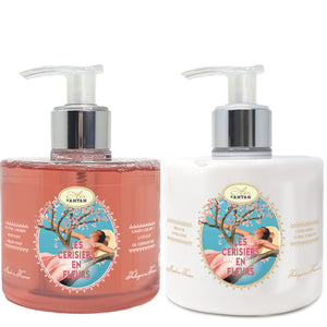 Hand Wash & Care Set: Liquid Soap 300ml + Hand Lotion 300ml Cherry Blossom