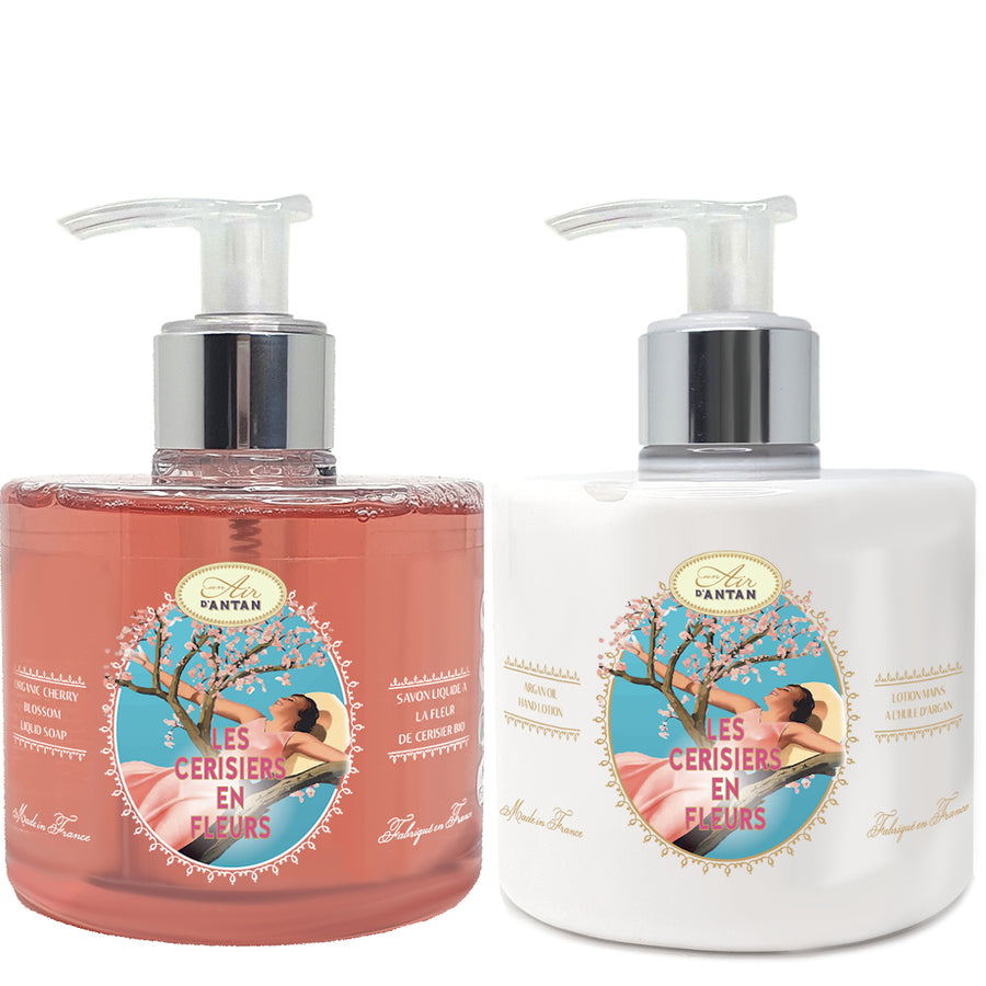 Hand Care Set: Liquid Soap 300ml + Hand Lotion 300ml Cherry Blossom Un Air d'Antan