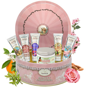 Full Hand Care Set in a Carousel Tin: 1 Hand Scrub and 5 Scented Hand Creams with Natural Oils