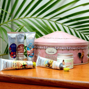 Full Hand Care Set: 1 Hand Scrub and 5 Scented Hand Creams with Natural Oils