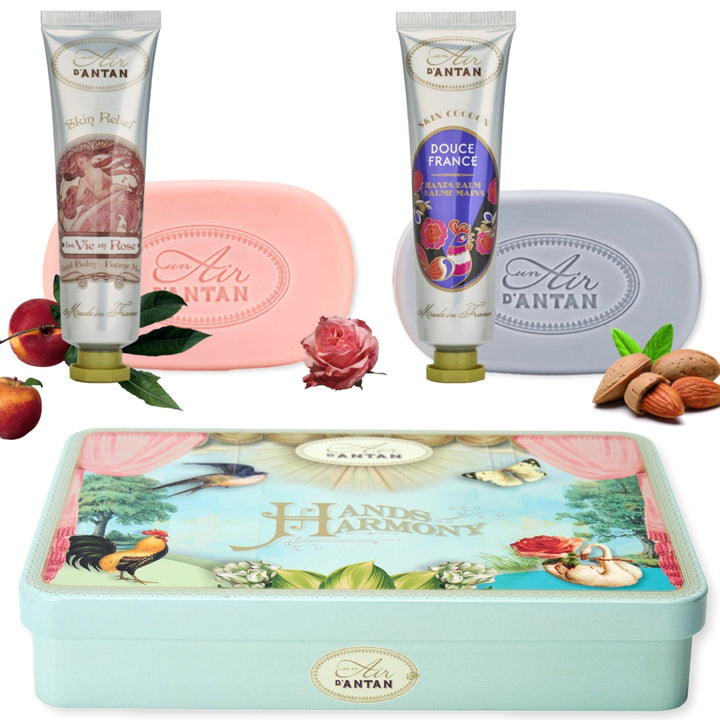Hand Cream and soap gift set (2 soaps 100g & 2 hand creams 25ml) - La Vie en Rose & Douce France