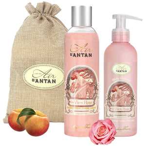 Shower Gel and Body Lotion Gift Set in Jute Bag Rose - Peach and Rose