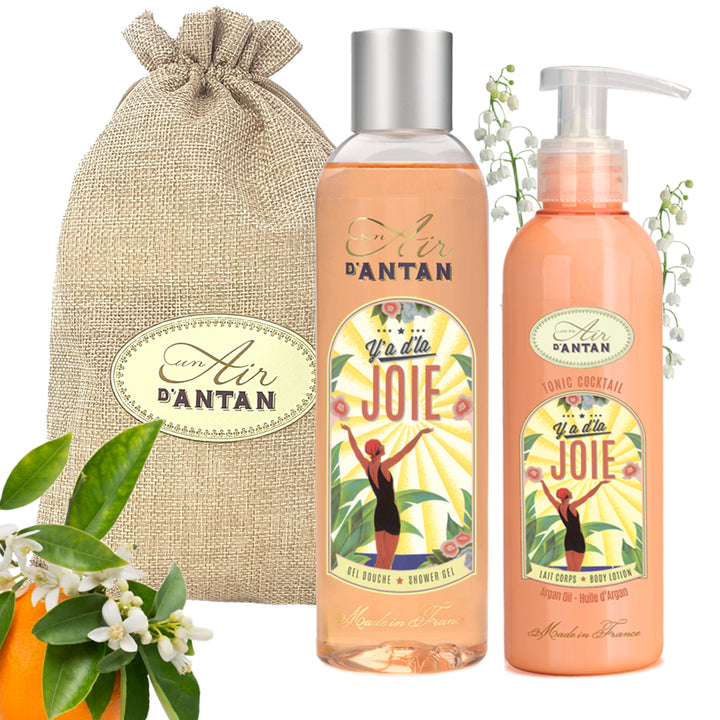 Shower Gel and Body Lotion Gift Set in Jute Bag Joie - Orange blossom & Lily of the valley