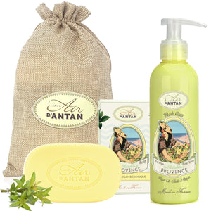 Soap and Body Cream Gift Set in Jute Bag Les Marchés de Provence