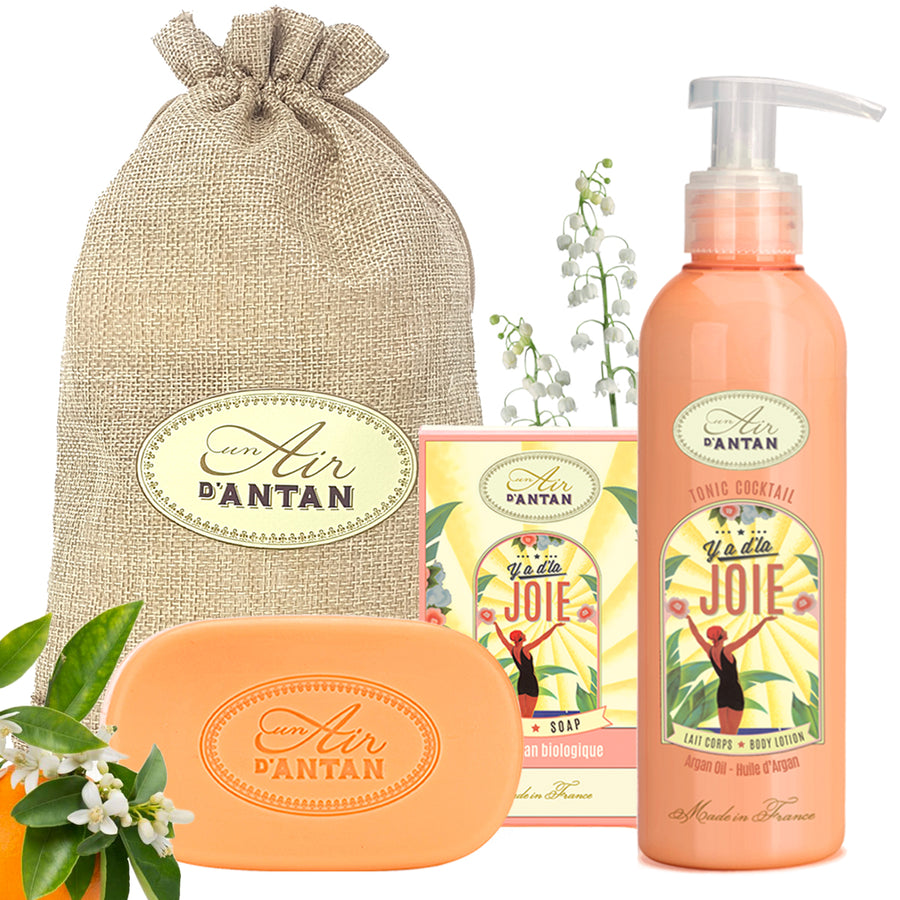 Soap and Body Cream Gift Set in Jute Bag Y a d'la Joie