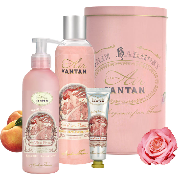 Skincare Trio Tin Gift Set ROSE - Rose, Peach, Patchouli