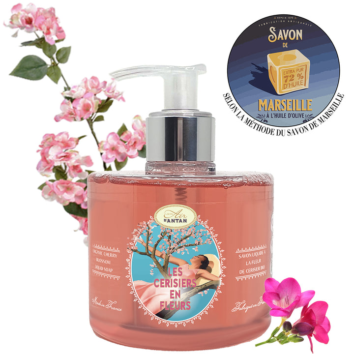 Les Cerisiers en Fleurs French Marseille Liquid Soap with Organic Cherry Blossom 300 ml