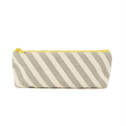Fluf washable organic pencil case with water resistant lining in GREY STRIPE