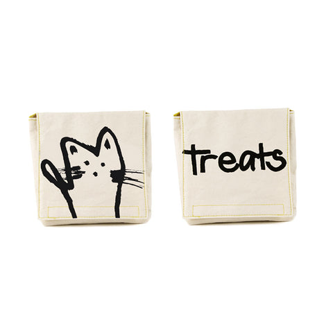 Set of 2 Washable Snack Packs with water resistant lining in MEOW treats cat