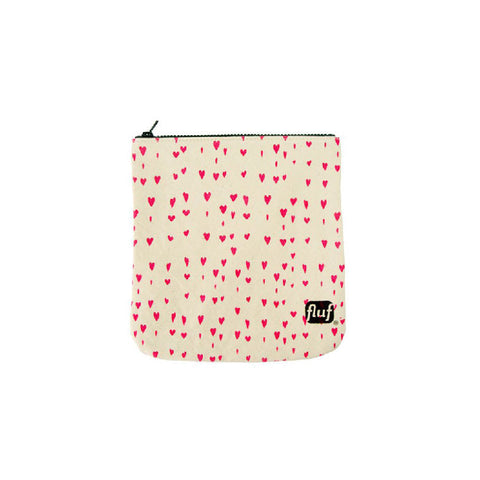 Fluf washable cotton zip pouch bag in HEARTS pattern