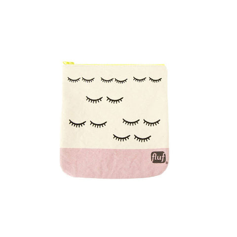 Fluf washable cotton zip pouch bag in WINK pattern (white and pink with image of eyelashes)