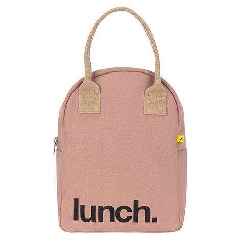 Zipper Lunch Bag Solid Mauve Cotton Lunch Bag Front