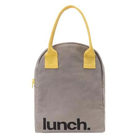 Fluf Zipper Lunch Bag - Grey YELLOW