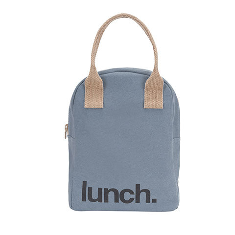 Fluf Zipper Lunch Bag - Solid Blue