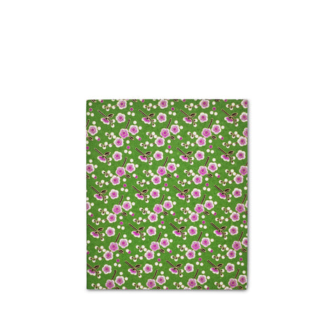 Handprinted Japanese Chiyogami Covered Sketchbook, Pink Flowers on Green Background