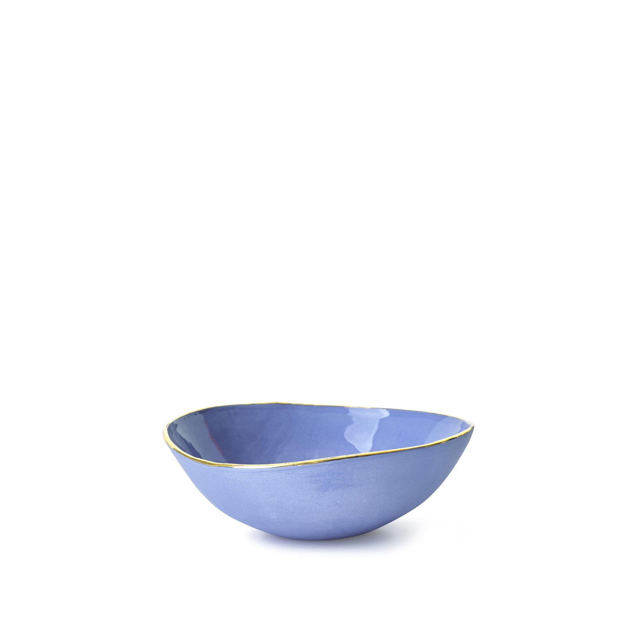 Full Painted Blue Ceramic Bowl with Gold Rim, 10cm
