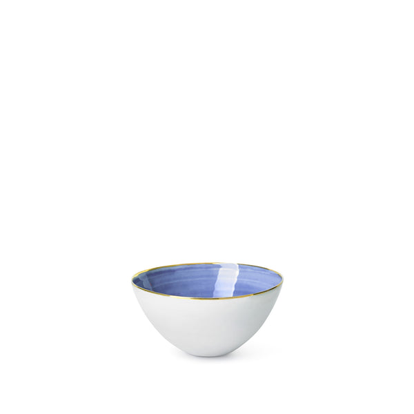 Blue Ceramic Bowl with Gold Rim, 10cm