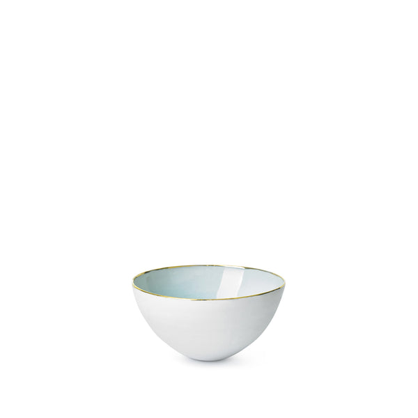 Light Blue Ceramic Bowl with Gold Rim, 10cm