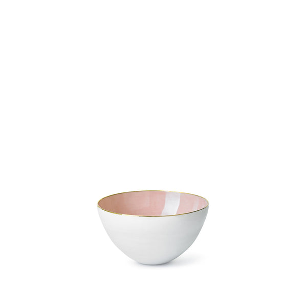 Pink Ceramic Bowl with Gold Rim, 10cm