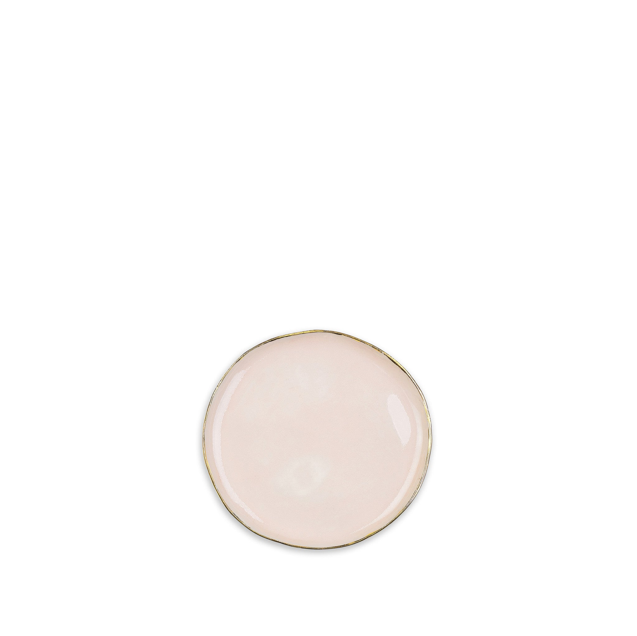 Small Pink Ceramic Plate with Gold Rim, 12cm