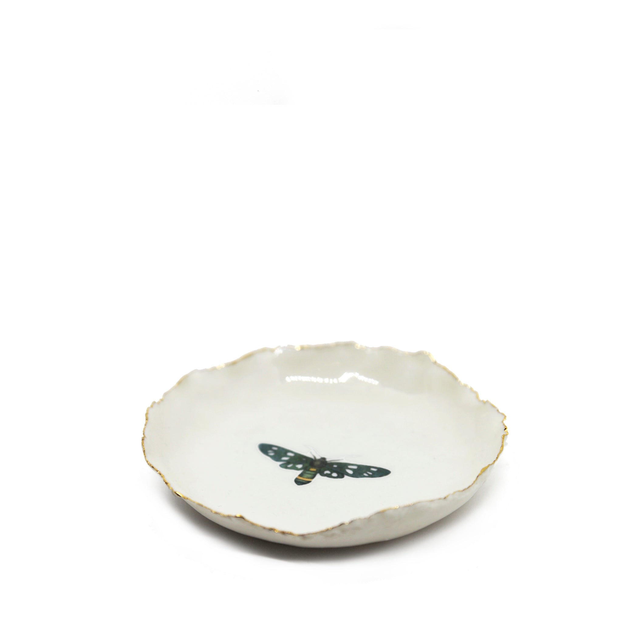 HB Small Jagged Dish with Coloured Butterfly, 12cm