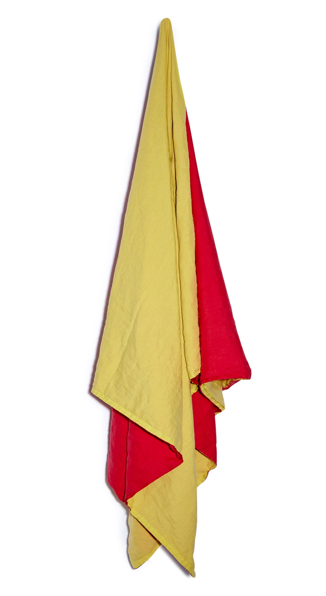 Reversible Linen Tablecloth in Pillar Box Red and Canary Yellow