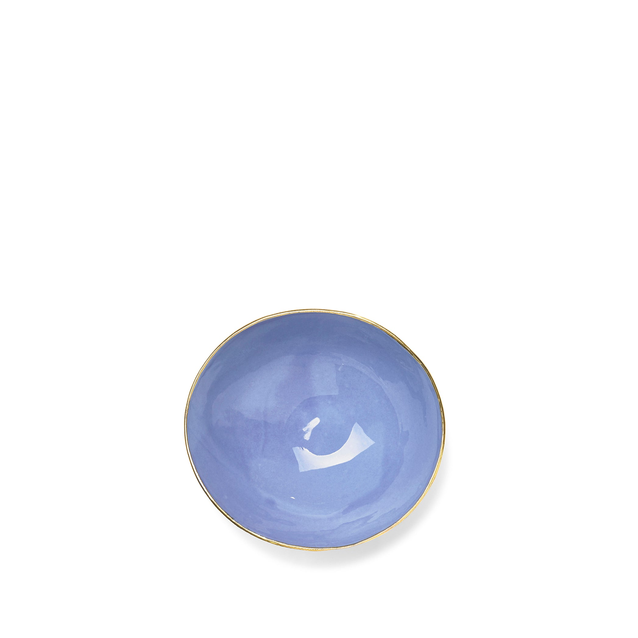 Full Painted Blue Ceramic Bowl with Gold Rim, 16cm