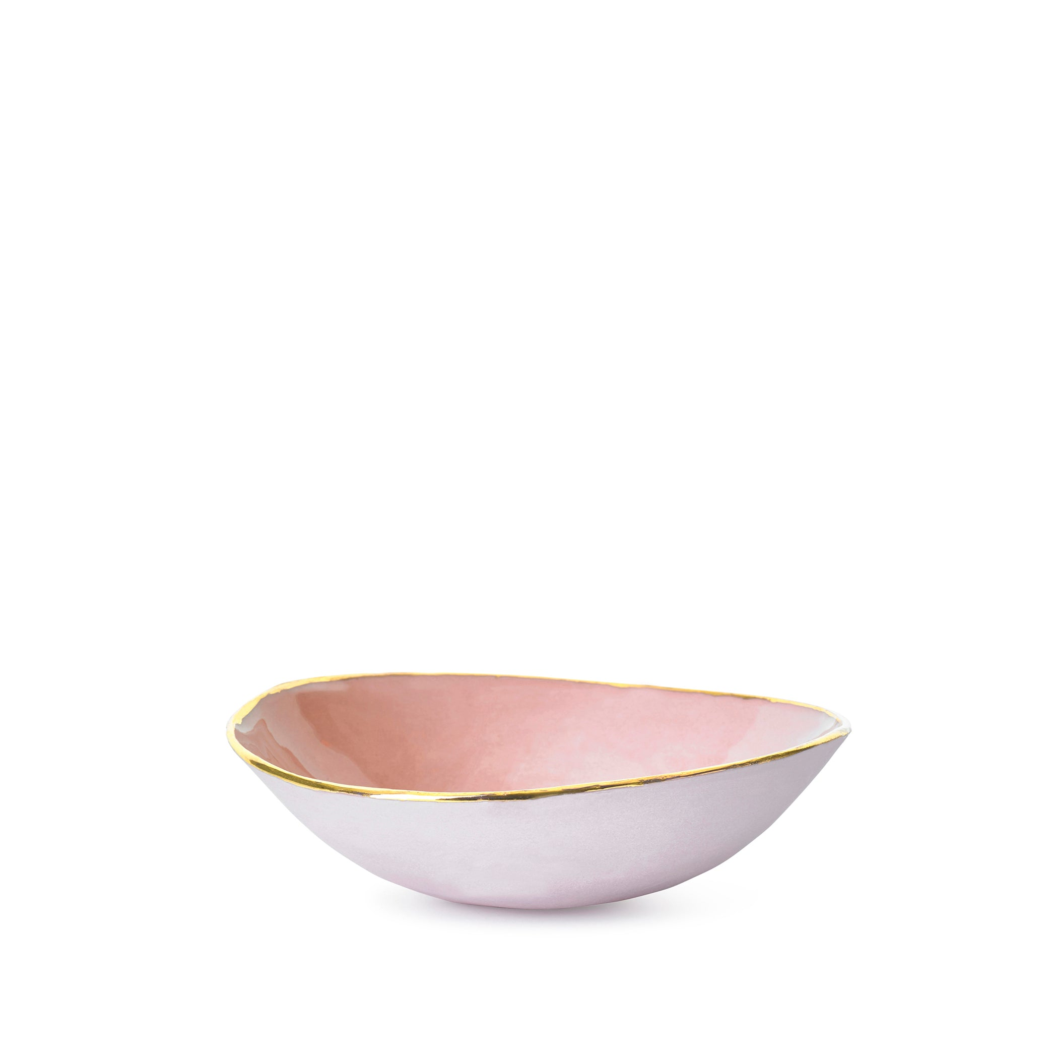 Full Painted Pink Ceramic Bowl with Gold Rim, 16cm