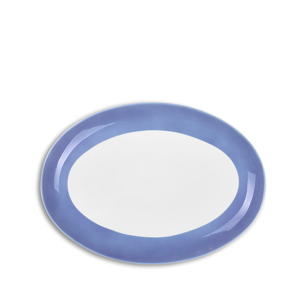 S&B 35cm Oval Serving Platter with Blue Edge