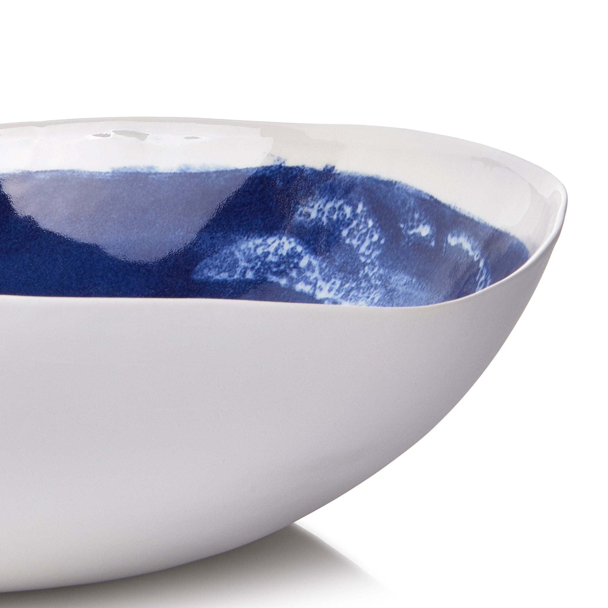 S&B Handmade 43cm Porcelain Extra Large Salad Bowl In Blue Glaze with White Filodendro Leaf