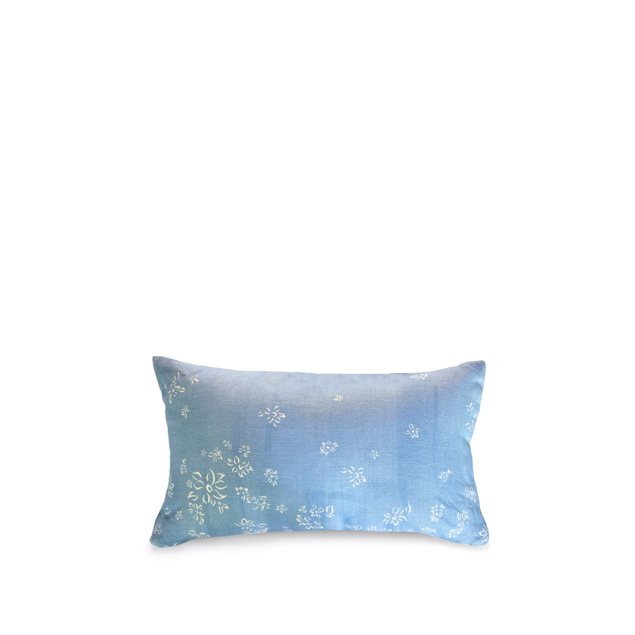Heavy Linen Falling Flower Cushion in Full Field Pale Blue, 50cm x 30cm