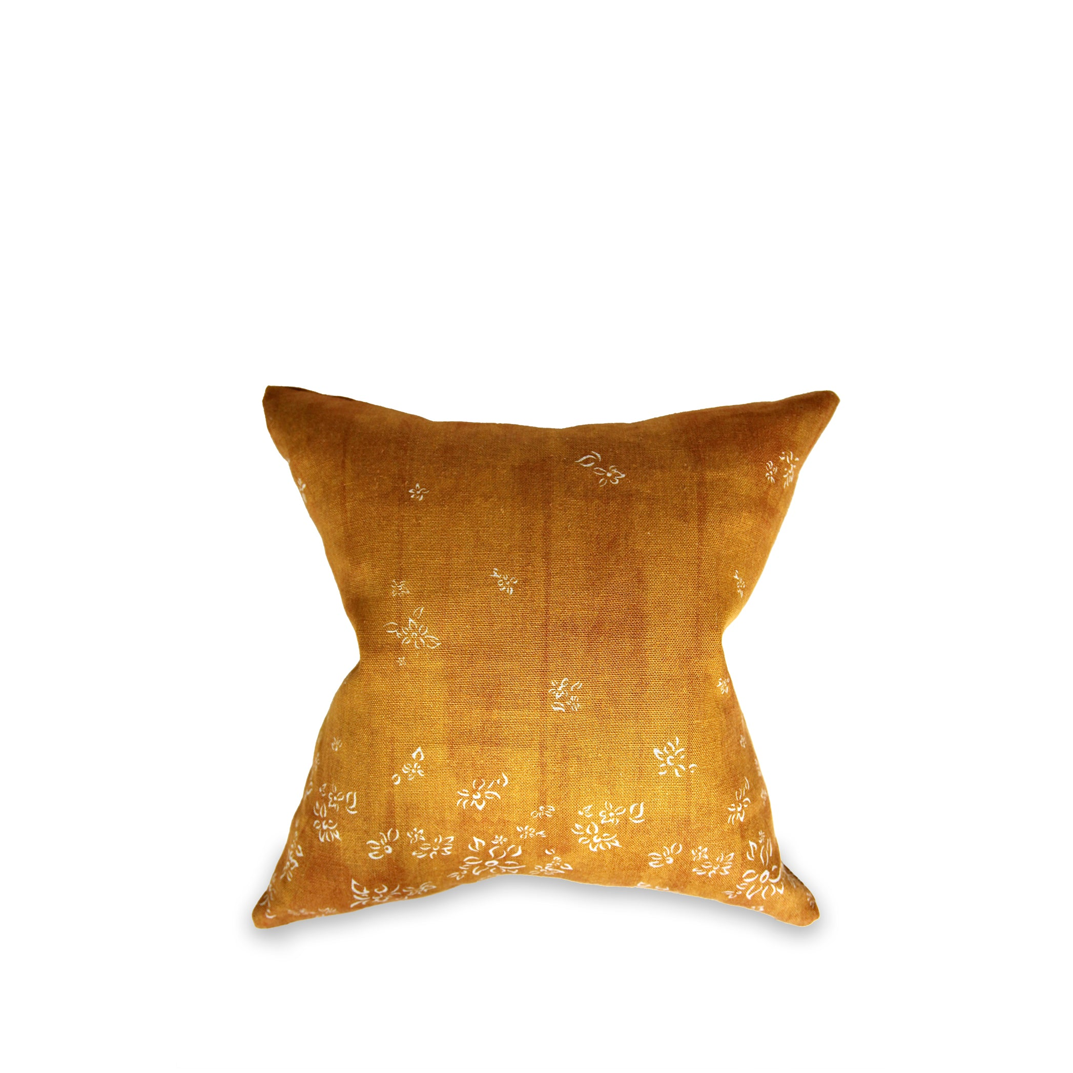 Heavy Linen Falling Flower Cushion in Full Field Mustard Yellow, 50cm x 50cm