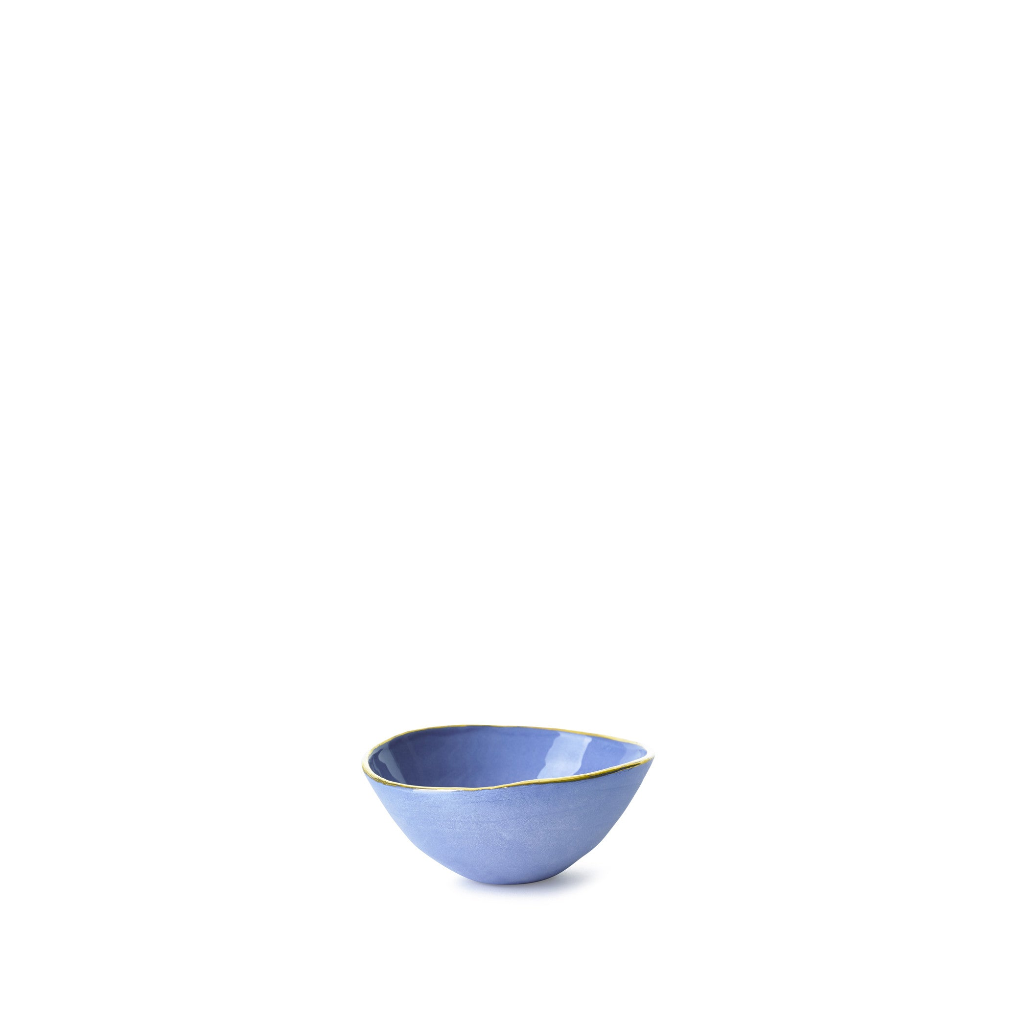 Full Painted Blue Ceramic Bowl with Gold Rim, 6cm