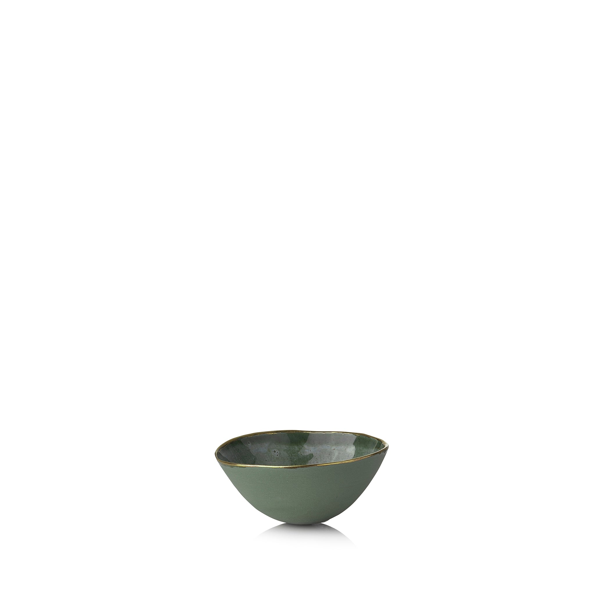 Full Painted Olive Green Ceramic Bowl with Gold Rim, 6cm