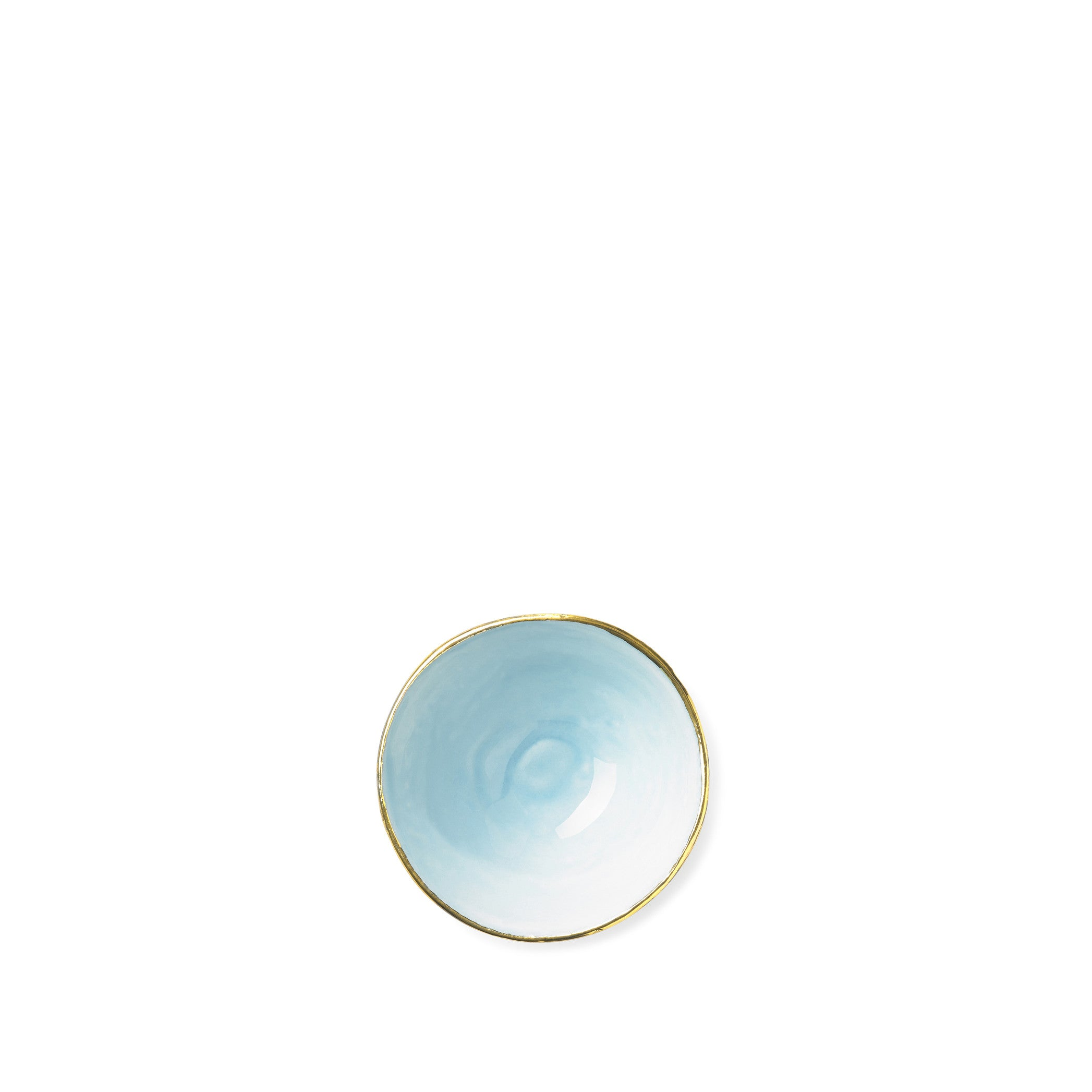 Full Painted Light Blue Ceramic Bowl with Gold Rim, 6cm