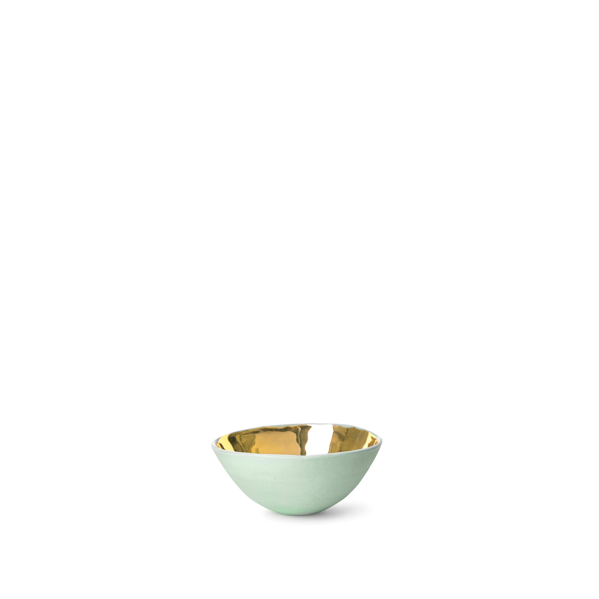 Full Painted Green Ceramic Bowl with Gold Glaze, 6cm