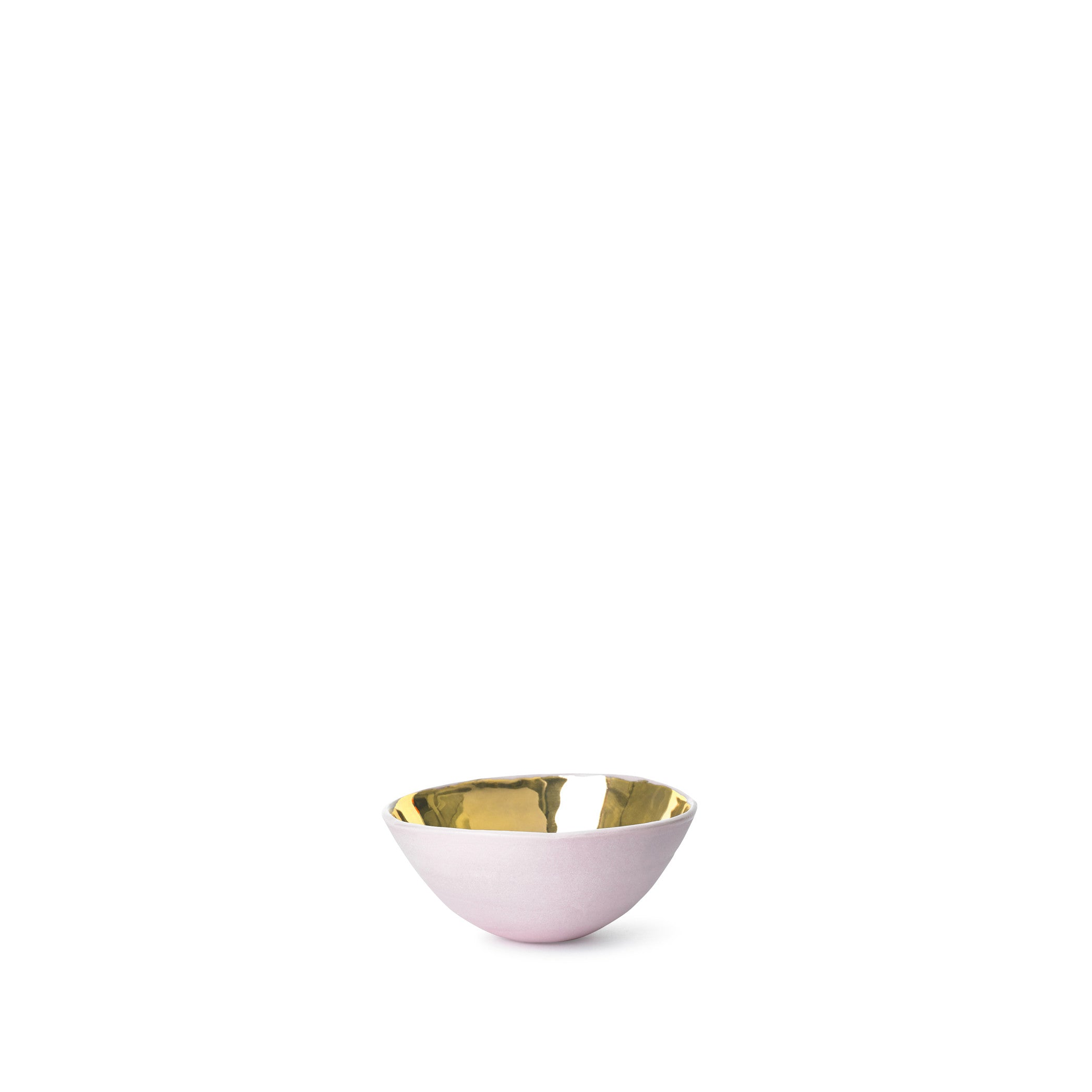 Full Painted Pink Ceramic Bowl with Gold Glaze, 6cm