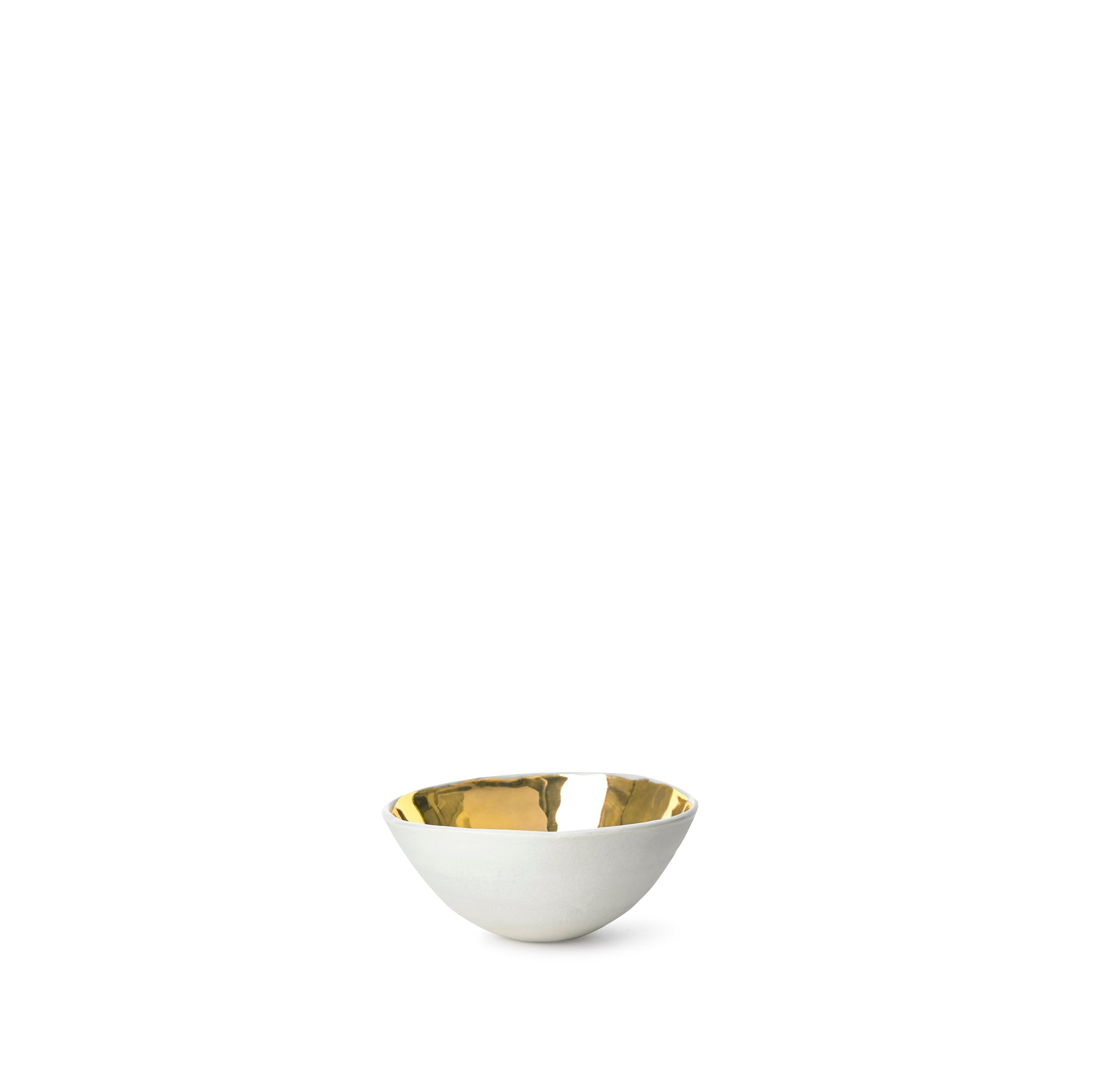 Full Painted White Ceramic Bowl with Gold Glaze, 6cm
