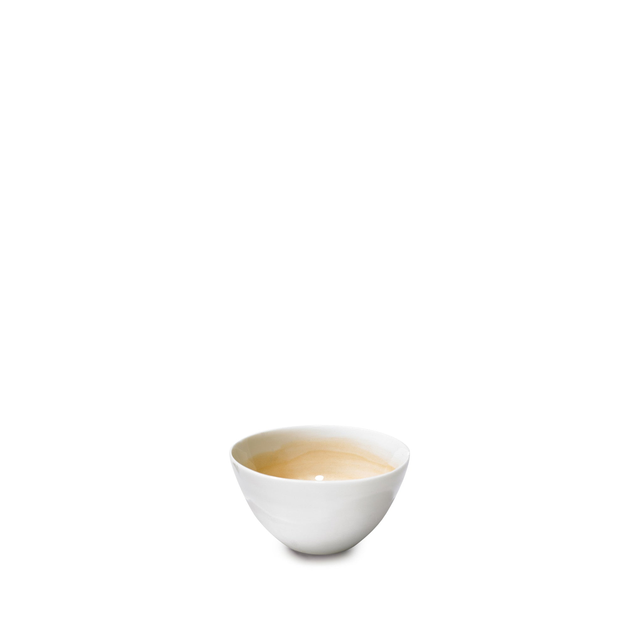 Small Pale Orange Porcelain Bowl with White Edge, 8cm