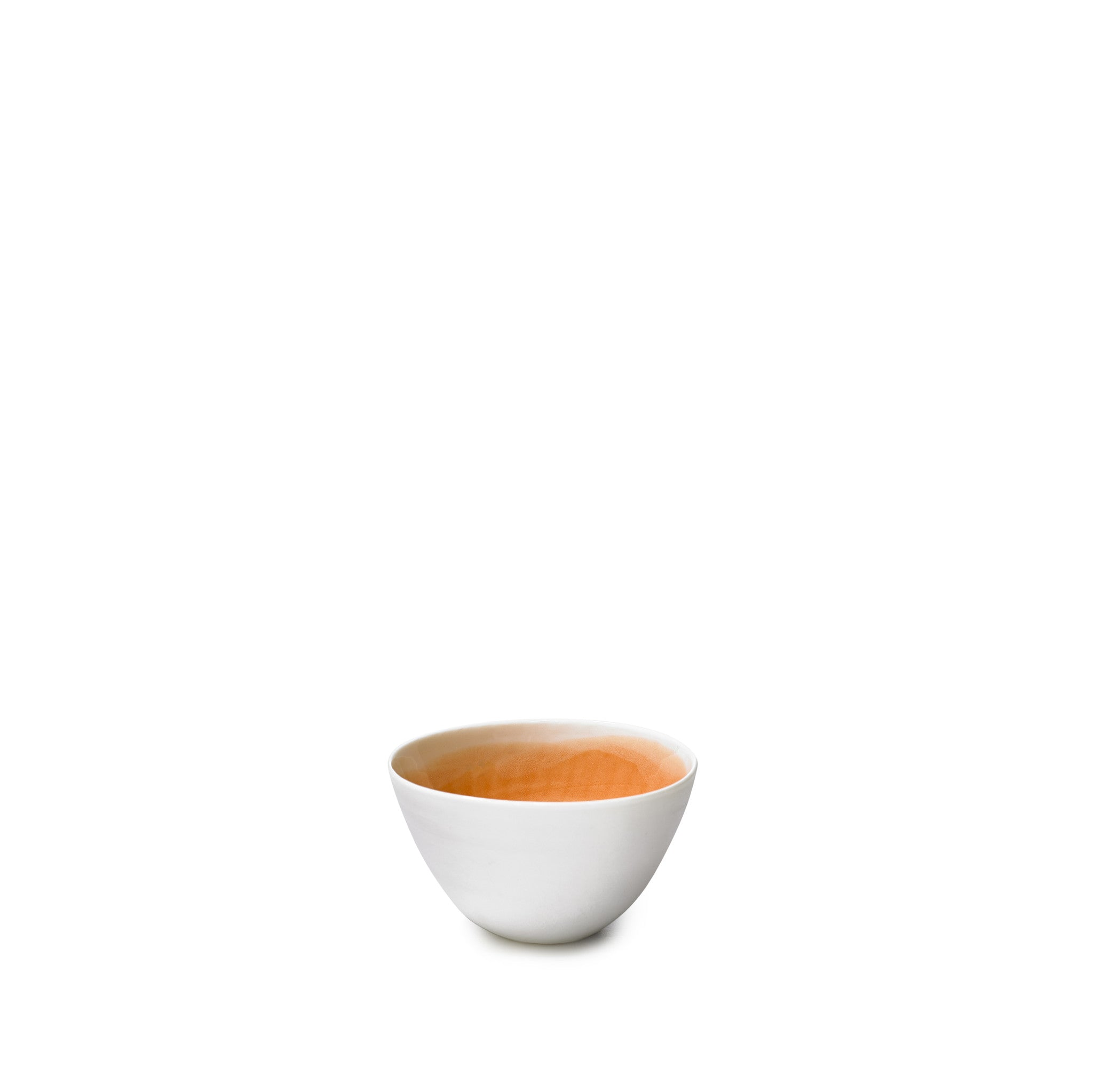 Small Orange Porcelain Bowl with White Edge, 8cm