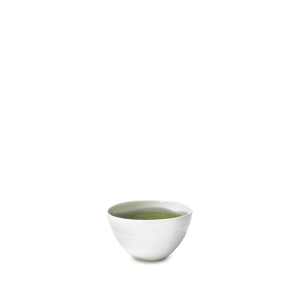Small Olive Green Porcelain Bowl with White Edge, 8cm