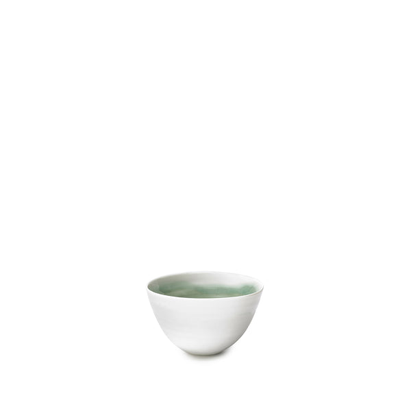 Small Dark Green Porcelain Bowl with White Edge, 8cm