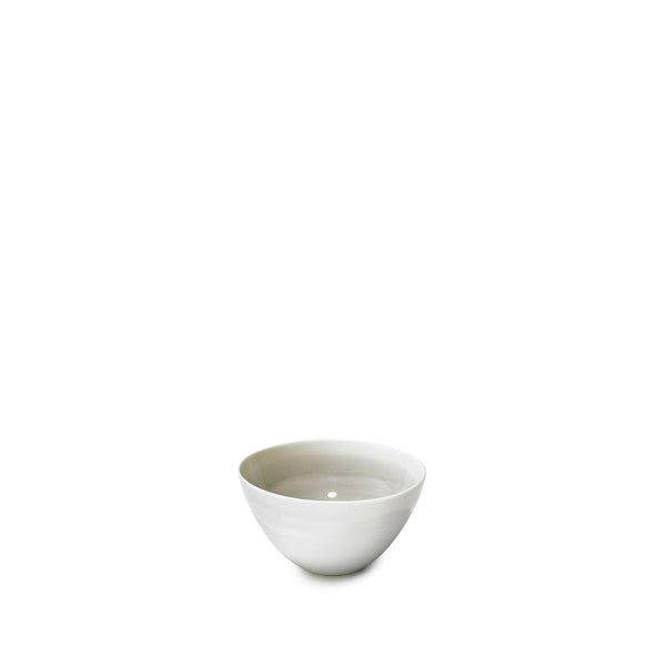Small Light Grey Porcelain Bowl with White Edge, 8cm